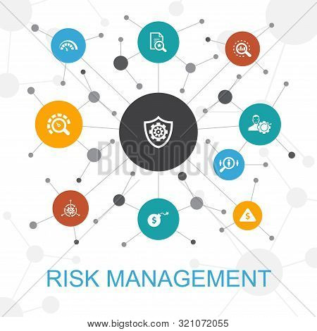 Risk Management Trendy Web Concept With Icons. Contains Such Icons As Control, Identify, Level Of Ri