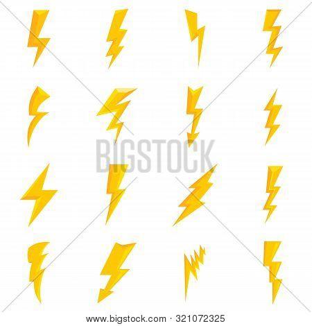 Lightning Bolt Icons Set. Flat Set Of Lightning Bolt Vector Icons For Web Design