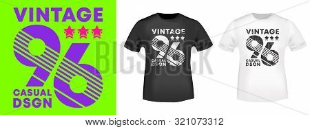 Vintage Number 96 T-shirt Print For T Shirts Applique, Tee Badge, Label, Clothing Tag, Jeans, And Ca