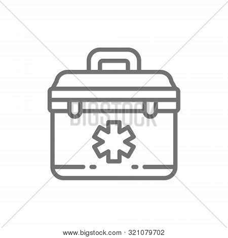 First Aid Kit, Paramedic Bag Line Icon.