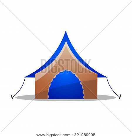 Multi-colored Camping Ridge Tent. Raster Illustration In Flat Cartoon Style On White Background