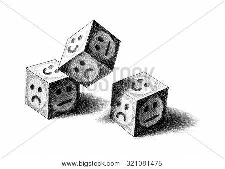 Freehand Pencil Drawing Of Three Dice Being Thrown. Two Landed With Face Up, While Third One Still I