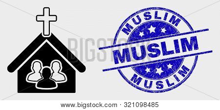 Vector Church People Pictogram And Muslim Seal Stamp. Red Round Scratched Seal Stamp With Muslim Tex