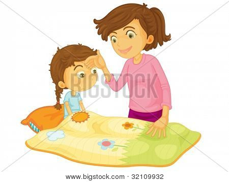 Child illustration on a white background