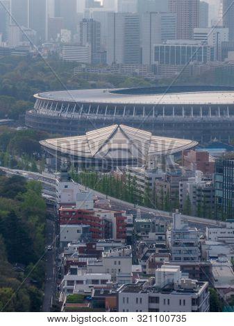 Japan, Tokyo - April 18, 2019: Tokyo Metropolitan Gymnasium And The New Olympic National Stadium In