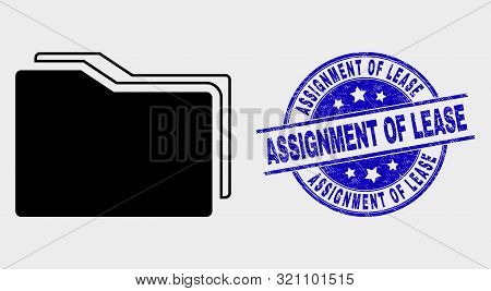 Vector Folders Pictogram And Assignment Of Lease Watermark. Red Rounded Grunge Watermark With Assign
