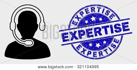 Vector Radio Operator Icon And Expertise Seal Stamp. Red Round Grunge Seal Stamp With Expertise Capt
