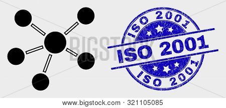 Vector Relations Pictogram And Iso 2001 Seal Stamp. Red Rounded Grunge Seal Stamp With Iso 2001 Text