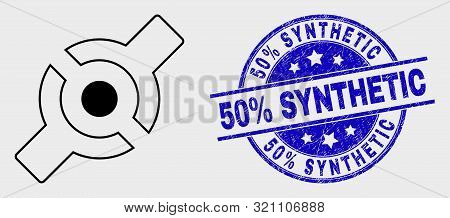 Vector Outline Artificial Joint Pictogram And 50 Percent Synthetic Seal Stamp. Blue Round Grunge Sea