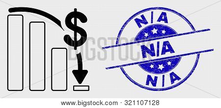 Vector Stroke Financial Epic Fail Chart Pictogram And N-a Seal. Blue Round Textured Watermark With N