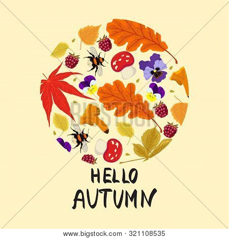 Autumn Print Of Leaves, Mushrooms, Berries, Bumblebees Inside A Circle. Vector Image.