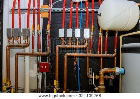 Main boiler piping, independent heating system of house heating system pipes collector of underfloor heating system poster