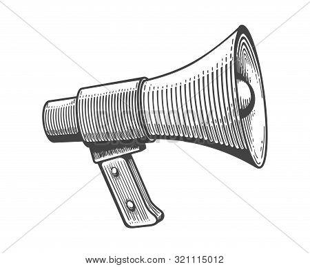 Vintage Loudspeaker. Loudspeakers Engraving For Public Announcements, Doodle Advertising Bullhorn, S