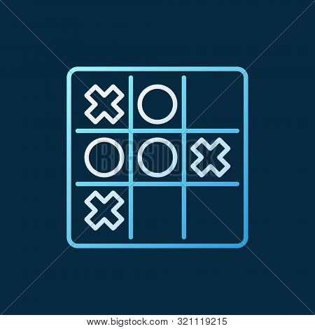 Noughts And Crosses Vector Colored Linear Icon. Tic Tac Toe Game Outline Symbol On Dark Background