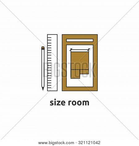 Icon Denoting The Layout Of The House. The Icon Shows A Pen, A Ruler And A Sheet Of Paper With A Pla