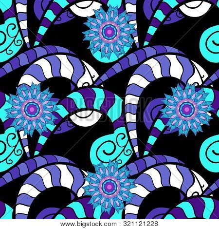 Illustration. Vector Texture. Doodles On A Blue, Violet And Black Colors. Seamless Pattern Beautiful