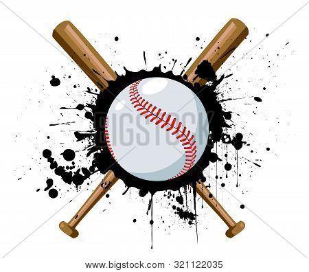 Baseball Vector Illustration With Baseball Bat Design