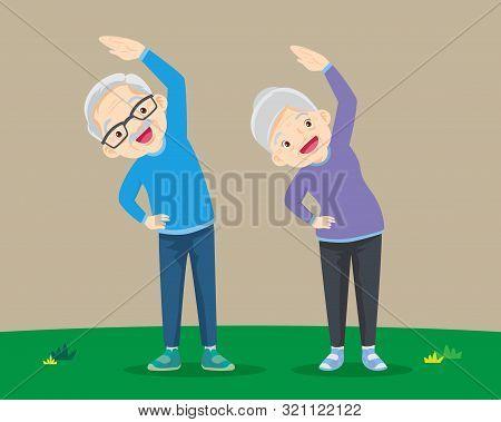 Senior People And Gymnastics. Elderly Couple. Grandparents Doing Exercises. Sport. Morning Exercises