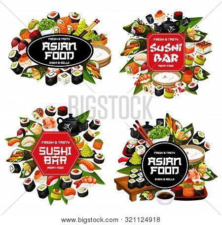 Isolated Sushi And Roll Food, Japanese Cuisine Meal. Vector Maki And Temaki, Sashimi And Ikura, Kapp