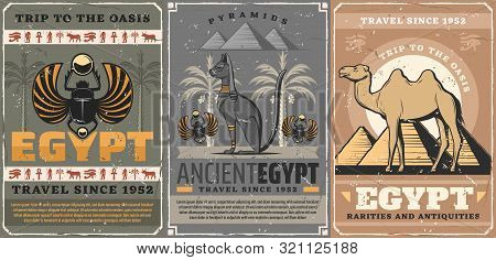 Egypt Travel, Religion And Culture Symbols. Vector Egyptian Scarab Bug Symbolic Beetle, Camel And Py