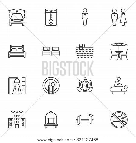 Hotel Line Icons Set. Linear Style Symbols Collection, Outline Signs Pack. Vector Graphics. Set Incl