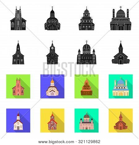 Vector Illustration Of Cult And Temple Icon. Collection Of Cult And Parish Stock Symbol For Web.