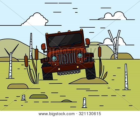 Off Road Landscape Poster. Driving In Swamp. 4x4 Car. Editable Vector Illustration In Bright Colors.