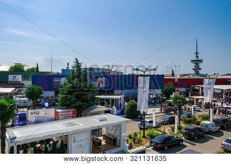 Thessaloniki, Greece - September 08 2019: Inside 84rth International Fair Pavilions With Crowd. Fair