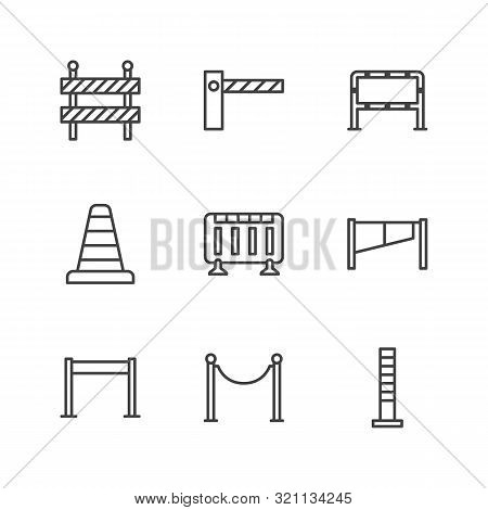 Roadblock Flat Line Icons Set. Barrier, Crowd Control Barricades, Rope Stanchion Vector Illustration