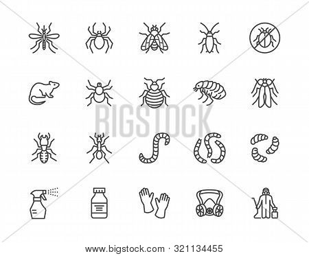 Pest Control Flat Line Icons Set. Insects - Mosquito, Spider, Fly, Cockroach, Rat, Termite, Spray Ve