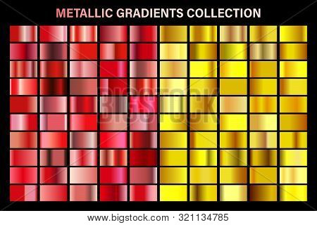 Ruby Red And Golden, Yellow Glossy Gradient, Gold Metal Foil Texture. Color Swatch Set. Collection O