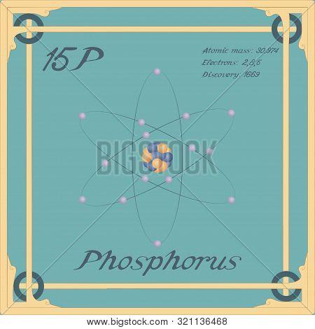 Periodic Table Element. Phosphorus Colorful Icon. Vector.