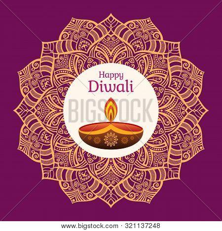 Greeting Card For Diwali Festival With Diwali Oil Lamp And Mandala. Diwali Or Deepavali Celebration