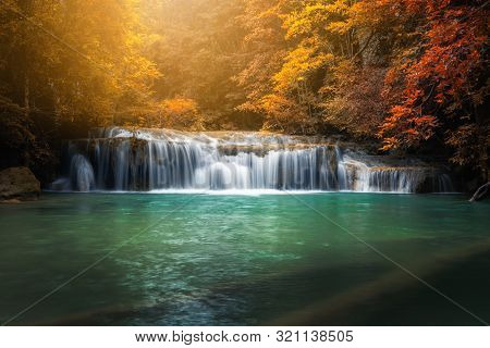 Beautiful Nature Scenic Of Waterfall In Autumn Season Forest, Amazing Colorful Natural Landscape Sce