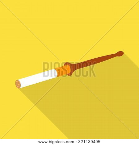 Vector Illustration Of Mouthpiece And Cigarette Icon. Collection Of Mouthpiece And Fashion Stock Vec