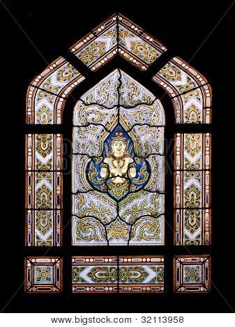 Thai Style Buddhism Temple Window