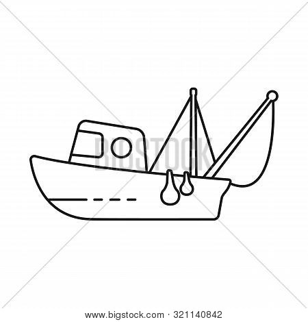 Vector Illustration Of Fishery And Trawler Symbol. Set Of Fishery And Naval Stock Vector Illustratio