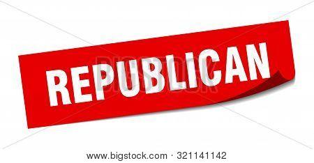 Republican Sticker. Republican Square Isolated Sign. Republican