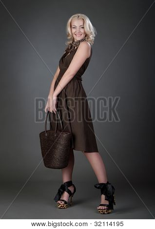 a beautiful blonde woman with handbag in brown dress poster