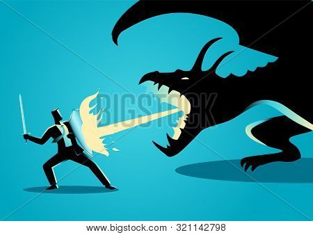 Business Concept Illustration Of A Businessman Fighting A Dragon. Risk, Courage, Leadership In Busin