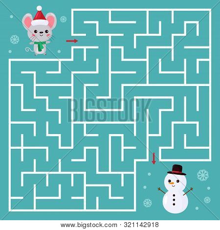 Maze Game For Children. Help The Kawaii Mouse Find Right Way To Snowman. Chinese New Year Symbol - R
