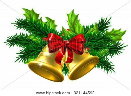 Christmas Tree Decoration Ornaments Festive Design With Gold Christmas Bells, Red Bow And Holly