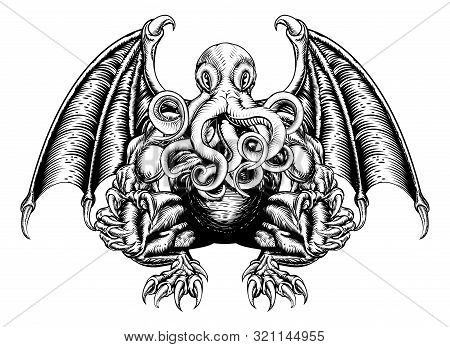 An Original Illustration Of A Cthulhu Monster In A Woodblock Style