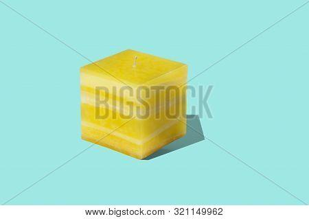 Large Square Multilayer Lemon Color Interior Candle
