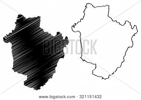 Hajdu-bihar County (hungary, Hungarian Counties) Map Vector Illustration, Scribble Sketch Hajdú-biha