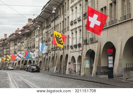 Bern, Switzerland - May 7, 2017: Street View Of Kramgasse Or Grocers Alley. It Is One Of The Princip