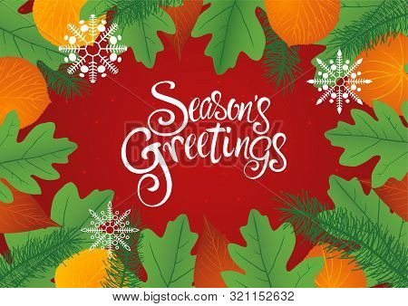 Decorative Leaves Background For Christmas