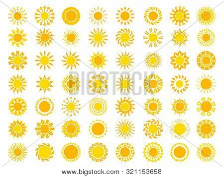 Sun Collection. Yellow Sunrise Symbols Nature Vector Stylized Icon Of Sun. Illustration Of Set Sun,
