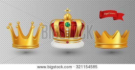 Realistic Royal Crowns. Vector Luxury Premium Monarchy Antique Diadem Diamonds And Jewels And Gold C