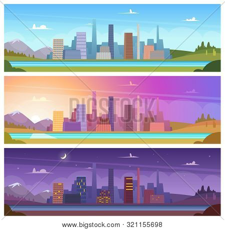 Different Day Time. Night Morning Night Day Outdoor City Landscape Vector Cartoon Backgrounds. Night